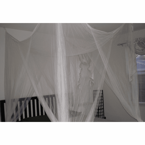 CREAM 4 POSTER BED CANOPY FUNCTIONAL MOSQUITO NET FULL QUEEN KING