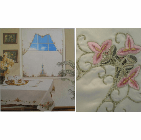 """Cut work and Embroidery Table Cloth 72x108"""""""