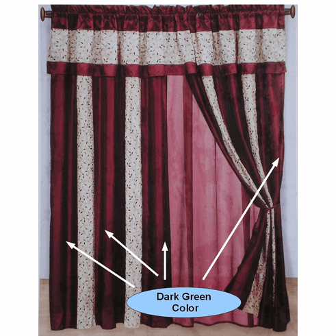 Dark Green and Beige embroidery Strip Windows Curtains / Drapes