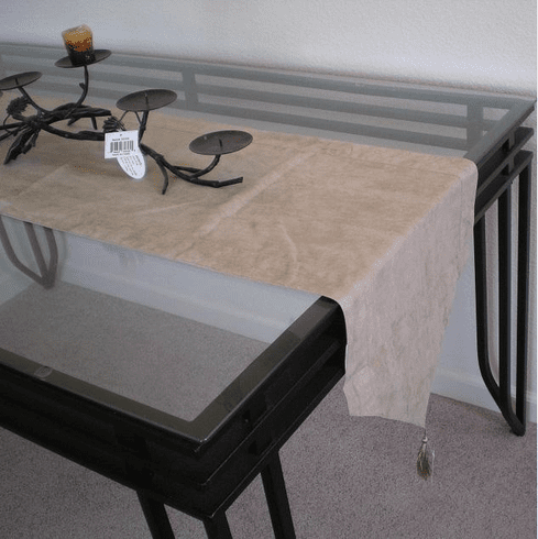 Double Layer Bonded Micro Suede Table Runner Beige ( Tan )