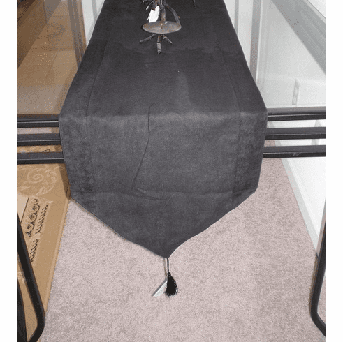 Double Layer Bonded Micro Suede Table Runner Black