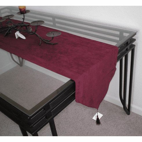 Double Layer Bonded Micro Suede Table Runner Burgundy ( Wine )
