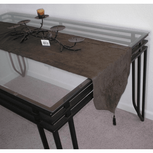 Double Layer Bonded Micro Suede Table Runner Dark Olive Green
