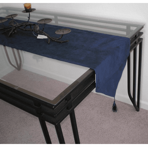 Double Layer Bonded Micro Suede Table Runner Navy Blue
