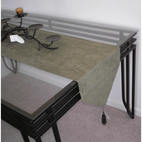 Double Layer Bonded Micro Suede Table Runner Sage Green