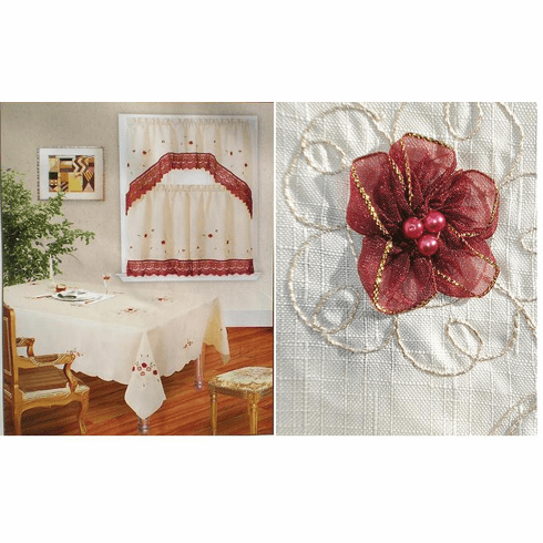 "Elegant Artex style embroidery plus marron trim lace based  table clothes 72x90"" or 72x108"""
