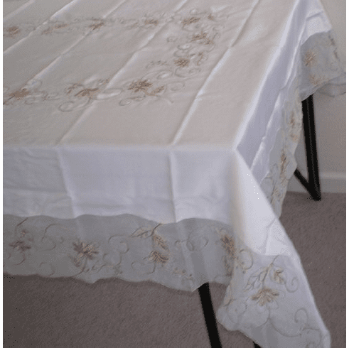 """Elegant Artex style embroidery plus trim lace based  Table cloth / table cover / table linen 72x90"""""""
