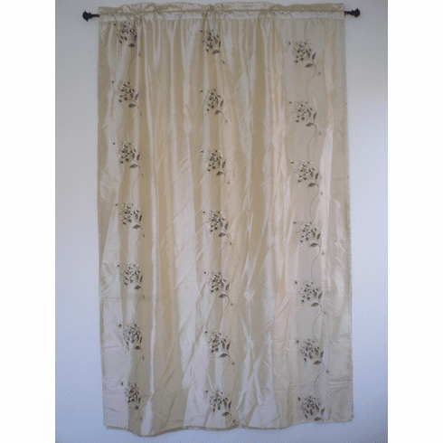 Faux Sild embrodiery window curtain / panel / drape with sheer lining