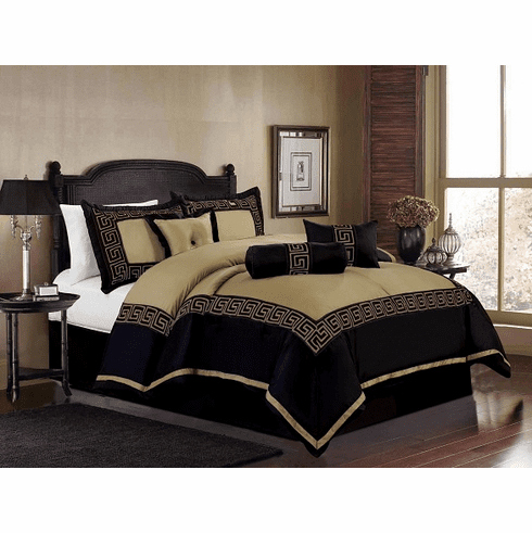 Faux Silk Taupe / Navy Blue Square Design with Embroidery Comforter Set Bedding-in-a-bag