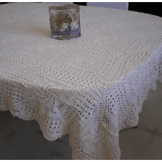Handmade Crochet Table Cloth 60x104 inch  White Color
