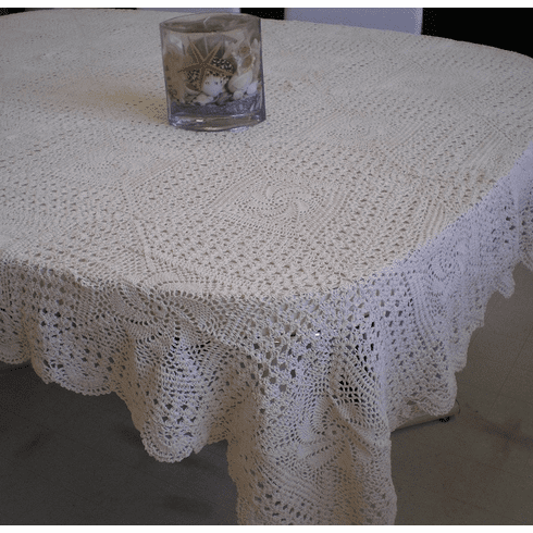 Handmade Crochet Table cloth 60x90 inches Beige / Off white