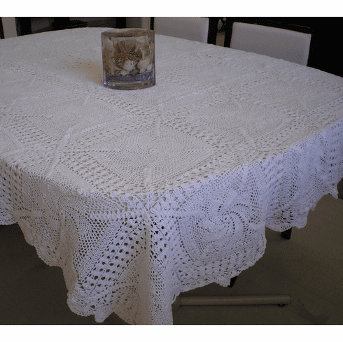 Handmade Crochet Table cloth 60x90 inches White Color