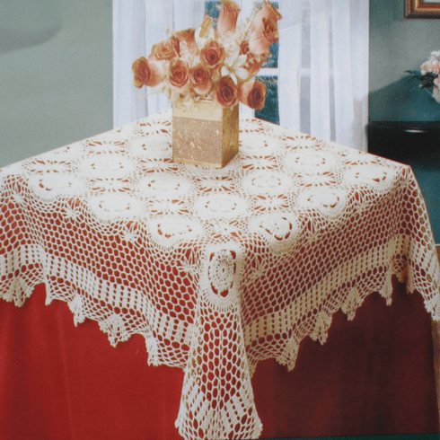 Handmade Crochet Table Cloth 68 inch Round White Color