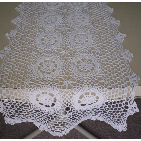 Handmade Crochet Table Runner Scarf 16x45 inches Beige Color