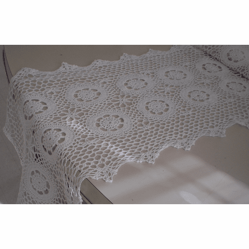 Handmade Crochet Table Runner Scarf 16x63 inches White Color