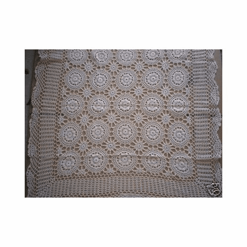 Handmade Crochet Table Topper 36 inch Square Beige Color