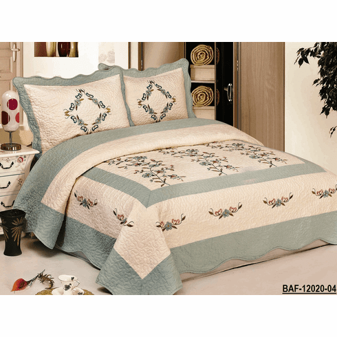 """High Quality Beige / Aqua Blue fully quilted bedspread coverlet Bed Cover set Queen King 104x92"""""""