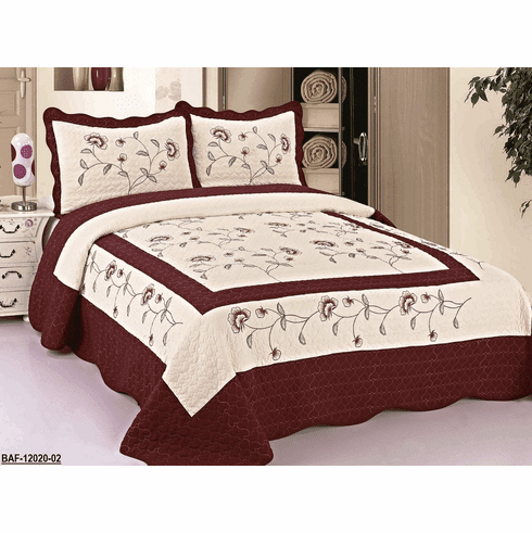 High Quality Beige / Burgundy fully quilted bedspread coverlet Bed Cover set Queen King 104x92""