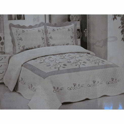 High Quality Beige/Grey fully quilted bedspread coverlet Bed Cover set Queen King 102x94""""
