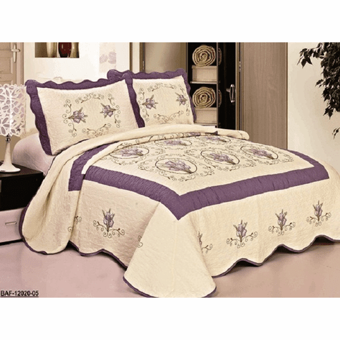 High Quality Beige / Purple fully quilted bedspread coverlet Bed Cover set Queen King 104x92""