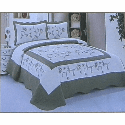 High Quality Beige / Sage fully quilted bedspread coverlet Bed Cover set Queen King 104x92