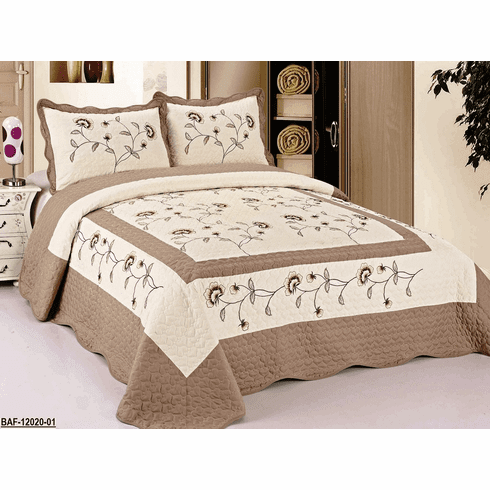"""High Quality Beige / Taupe fully quilted bedspread coverlet Bed Cover set Queen King 104x92"""""""