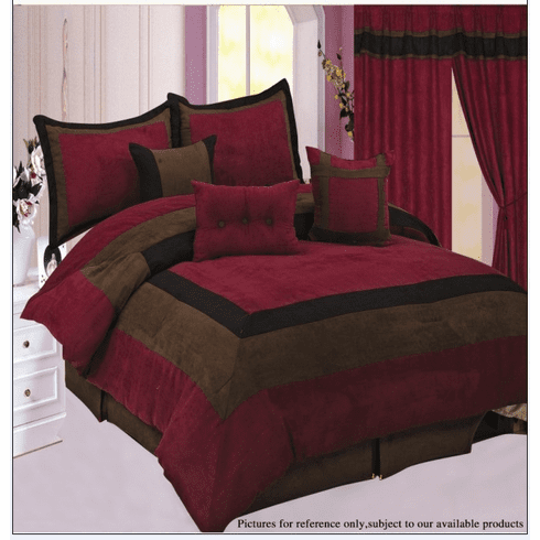 High Quality Micro Suede Burgundy / Brown Comforter Set Bedding-in-a-bag