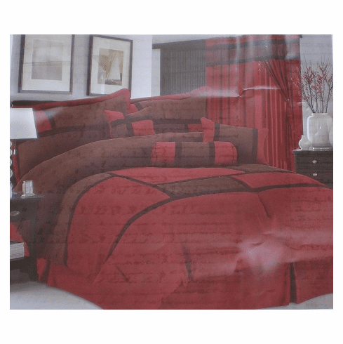 High Quality Micro Suede Comforter Set Bedding-in-a-bag, Burgundy-Brown