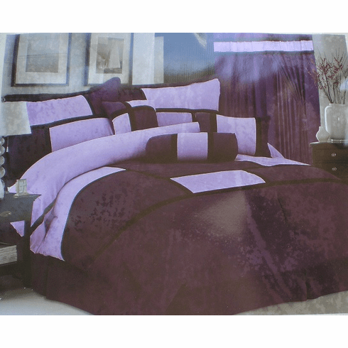 High Quality Micro Suede Comforter Set bedding-in-a-bag, purple - lavender