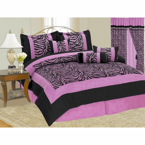 High Quality Micro Suede Pink / Black Zebra Comforter Set