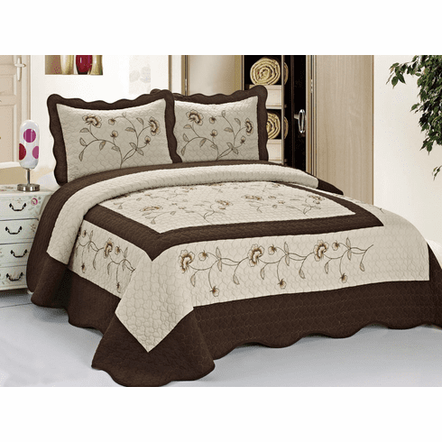 """High Quality Taupe / Brown fully quilted bedspread coverlet Bed Cover set Queen King 104x92"""""""