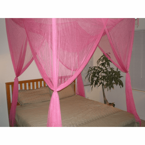 Hot Pink PINK 4 POSTER BED CANOPY MOSQUITO NET FULL QUEEN KING