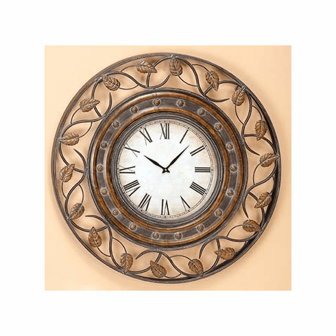 Large Wrought Iron cast leave Wall Decor Clock 36D (720)  - $5.49 S&H Only
