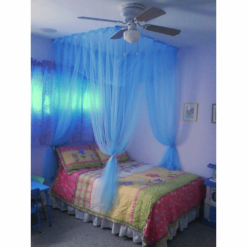 LIGHT BLUE 4 POSTER BED CANOPY MOSQUITO NET FULL QUEEN KING