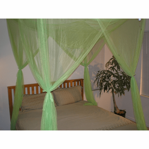 LIME GREEN 4 POSTER BED CANOPY MOSQUITO NET FULL QUEEN KING