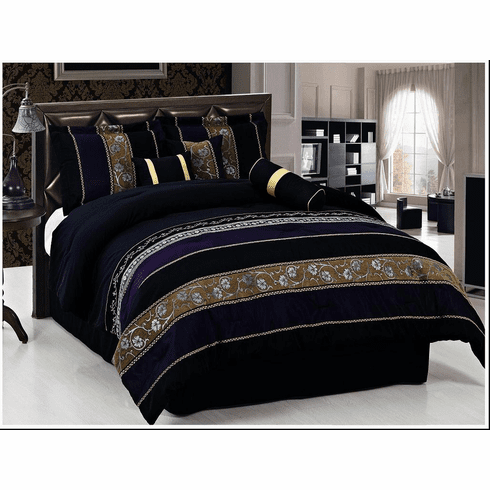 Luxurious 7pc Black Chenille Comforter Set Queen Or King
