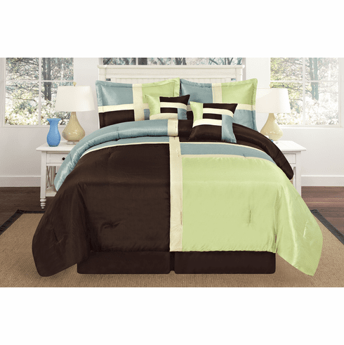 Luxurious Quilted Sage Green / Aqua Blue / Brown Patchwork Comforter Bedding Set
