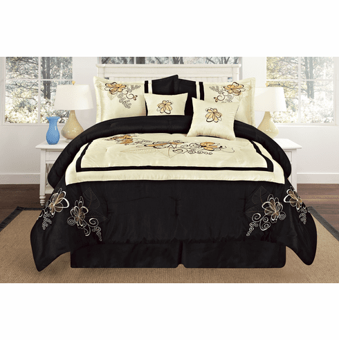 Luxury Oversize Beige / Black Embroidery Square Design Comforter Set