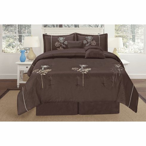 Luxury Oversize Brown Embroidery Comforter Set