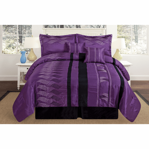 Luxury Oversize Purple / Black Embroidery Comforter Set Bedding-in-a-Bag