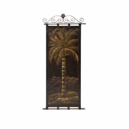 "metal holder with leather wall hanging 57""h, 24""w"