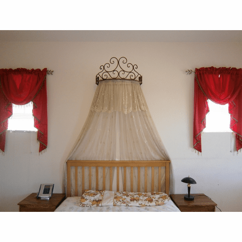 Metal Iron Wall Teester Bed Canopy Drapery Crown Hardware Over bed or Over Window