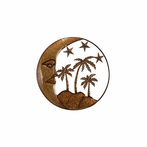 "metal moon and palm tree wall decor' 21""D"