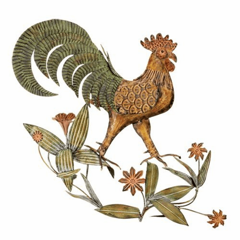 """metal rooster wall decor' 21""""w, 18.5""""h"""