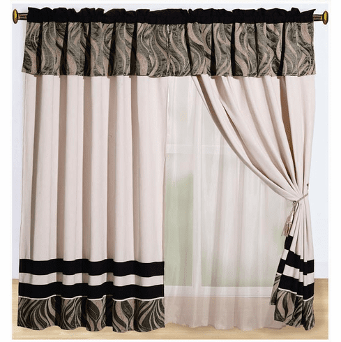 Micro Suede / Chenille Black, Beige and Taupe Windows Curtains / Drapes