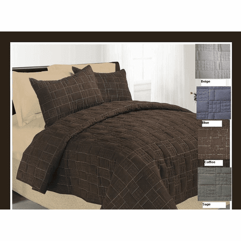Micro Suede Quilted Bedspread Set with Luxurious Suede Top Fabric Plus Two Suede Pillow Shams