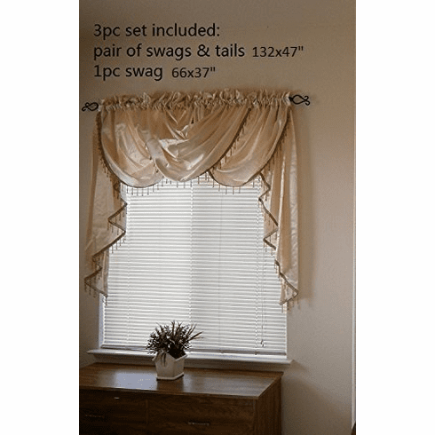 Octorose ® 3pcs Royalty Custom Waterfall Window Valance and Swags & Tails