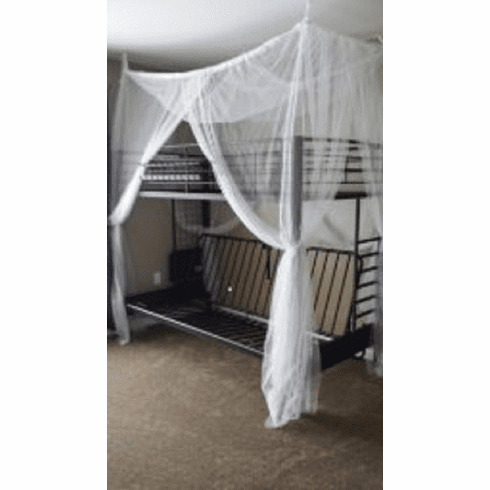 Octorose ® 4 Poster Bed Canopy Functional Mosquito Insect Netting with Canopy Pole Can Fit Crib, Twin, Twin/full Bunk Bed, Full, Queen, King and Cal King Bed