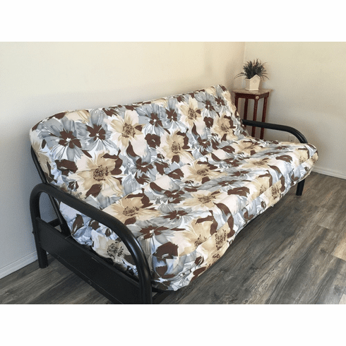 OctoRose Full Size 3 Side Zipper Two Tone Filp Over Canvas Blue with Micro Suede Futon Cover