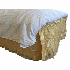 OctoRose Queen King Royalty 3 Layer Organza & Satin Easy Fit Bed Dressing Waterfall Bed Skirt Dust Ruffle